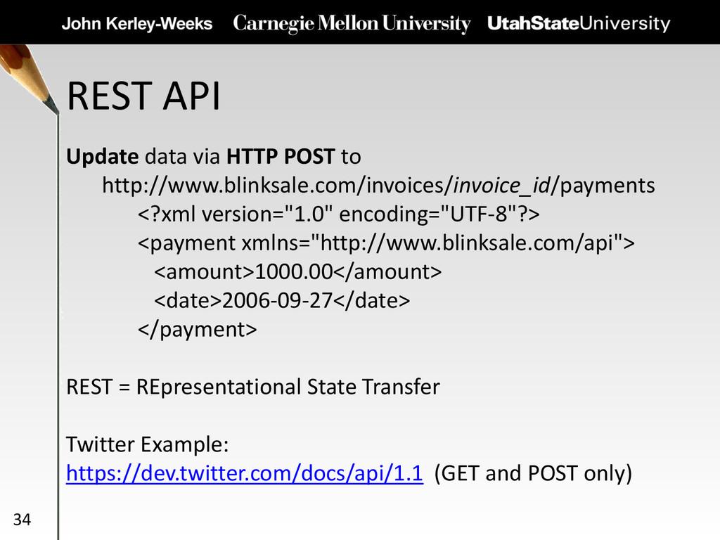 REST API 34 Update data via HTTP POST to http:/...