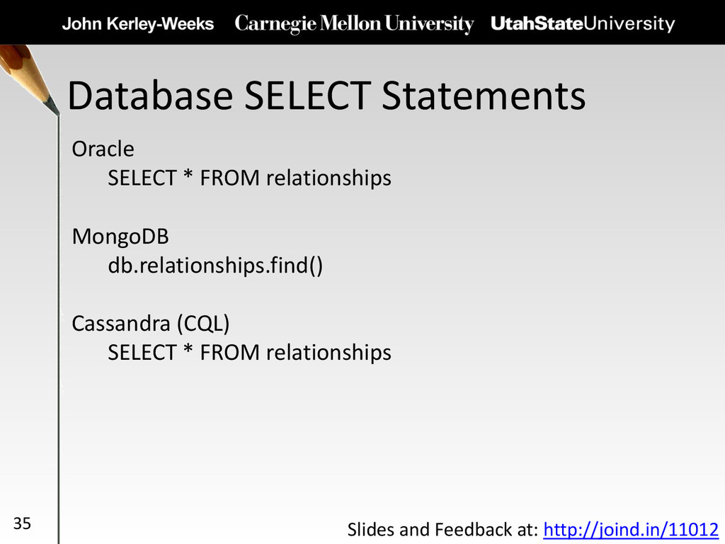 Database SELECT Statements 35 Oracle SELECT * F...