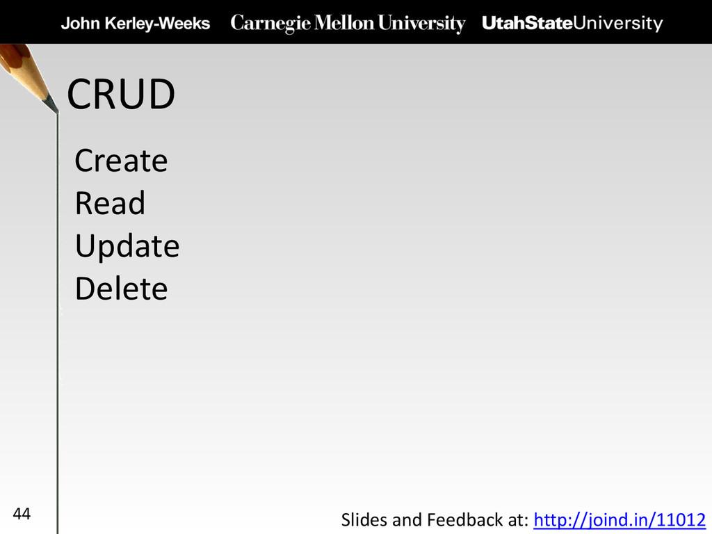 CRUD 44 Create Read Update Delete Slides and Fe...