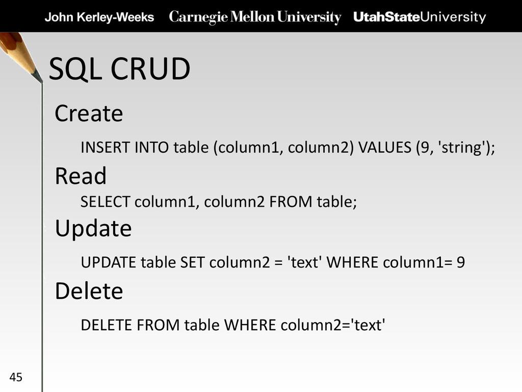 SQL CRUD 45 Create INSERT INTO table (column1, ...
