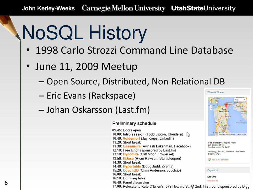 NoSQL History • 1998 Carlo Strozzi Command Line...