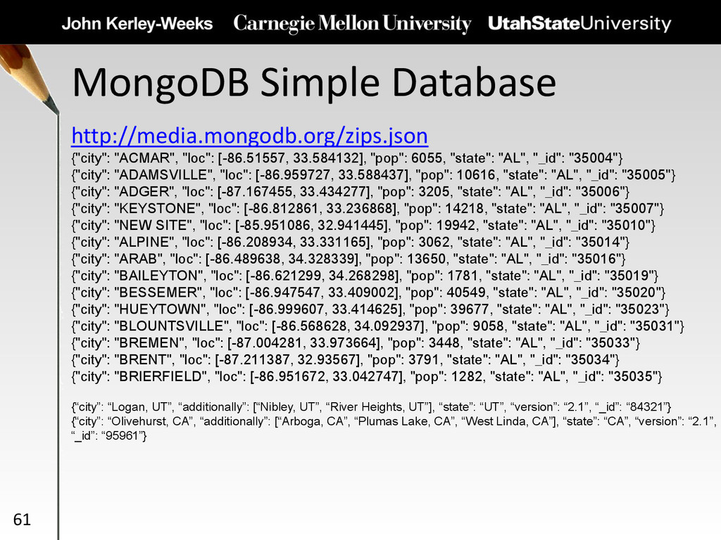 MongoDB Simple Database 61 http://media.mongodb...