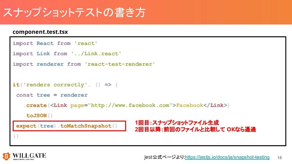 スナップショットテストの書き方 import React from 'react' impor...