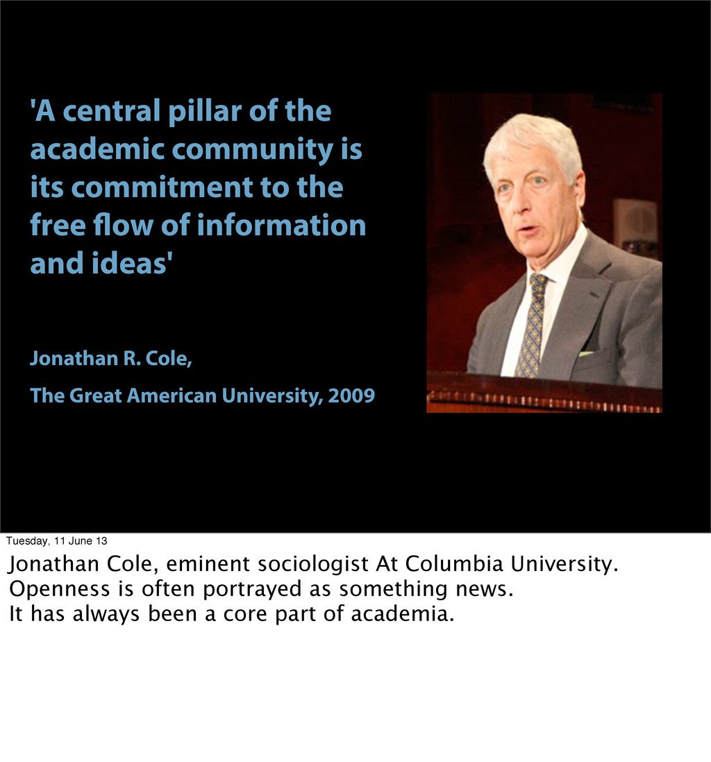 'A central pillar of the academic community is ...