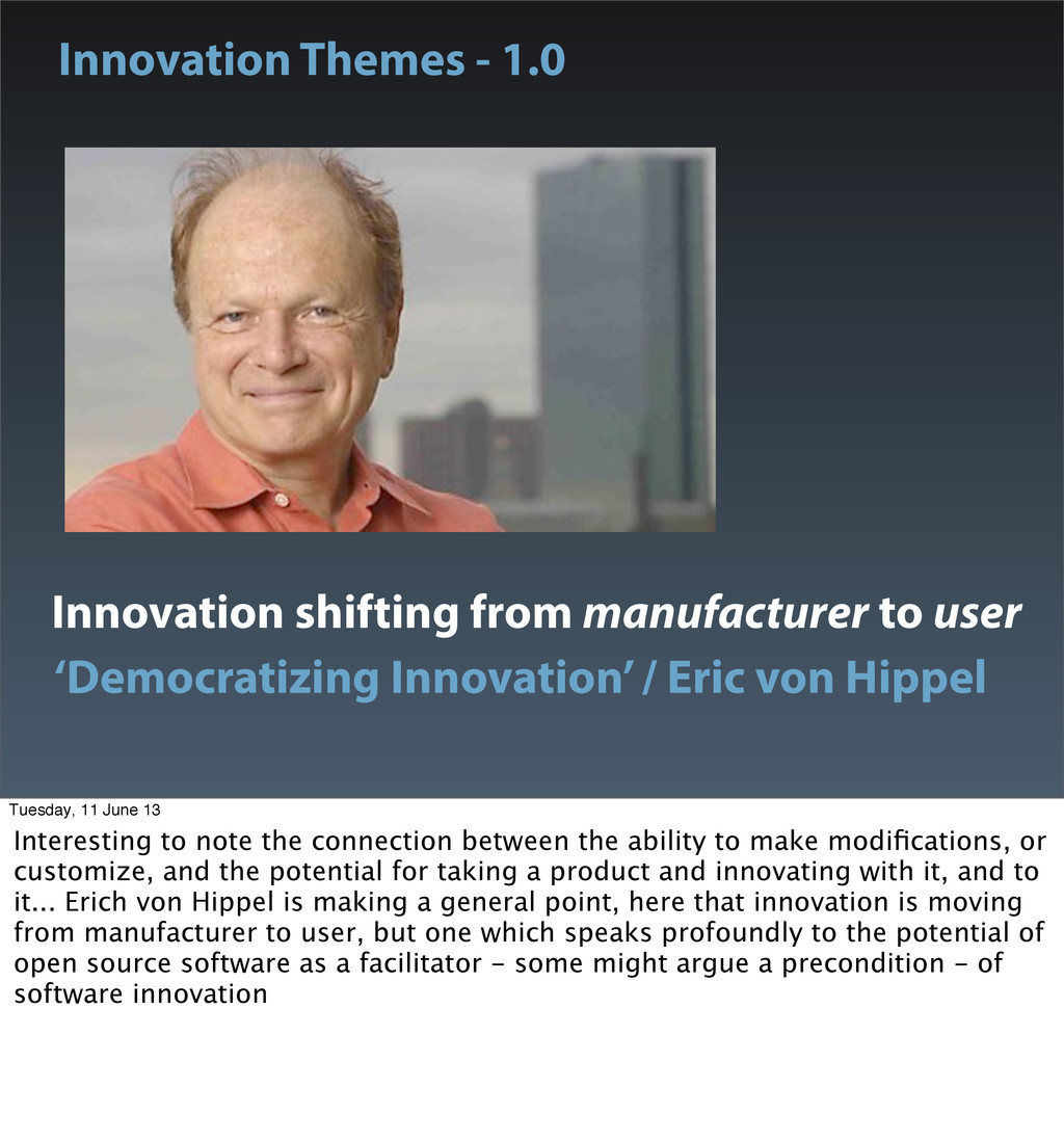 Innovation shifting from manufacturer to user '...