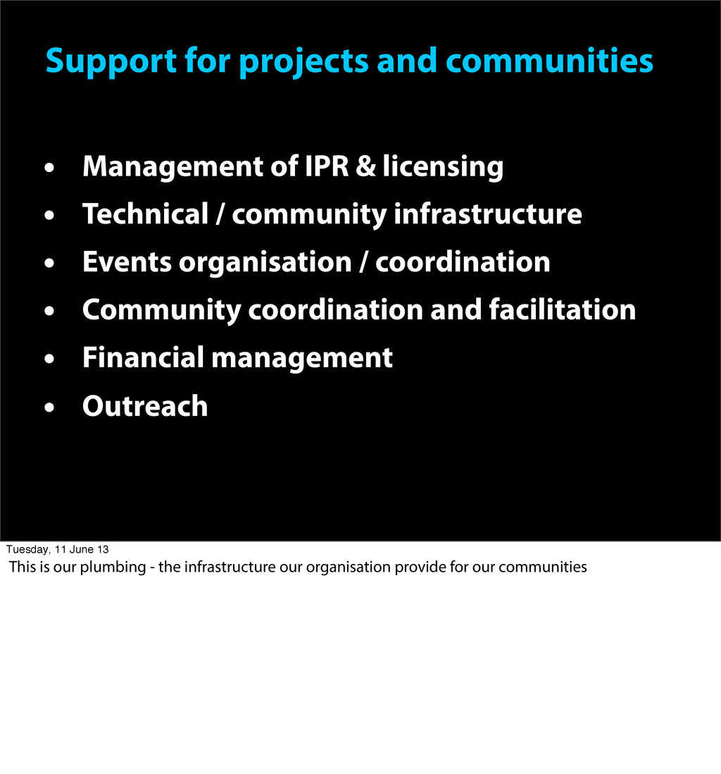 Support for projects and communities • Manageme...