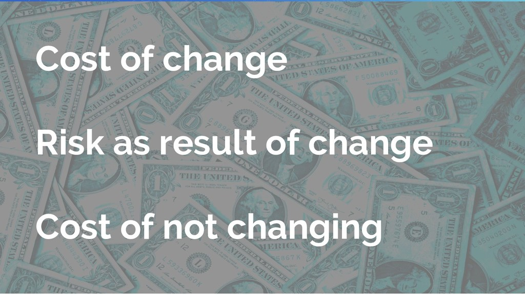 Cost of change Risk as result of change Cost of...