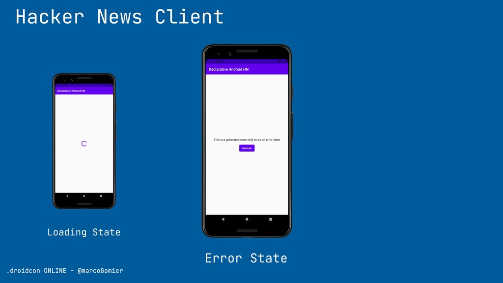 Hacker News Client Error State .droidcon ONLINE...