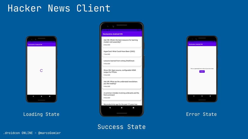 Hacker News Client Success State .droidcon ONLI...