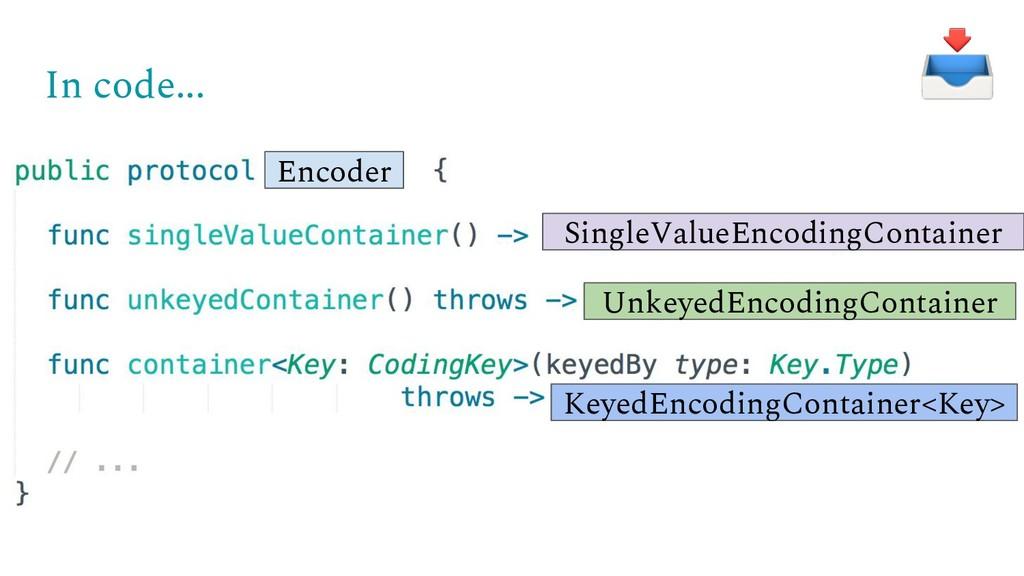 In code... SingleValueEncodingContainer Unkeyed...