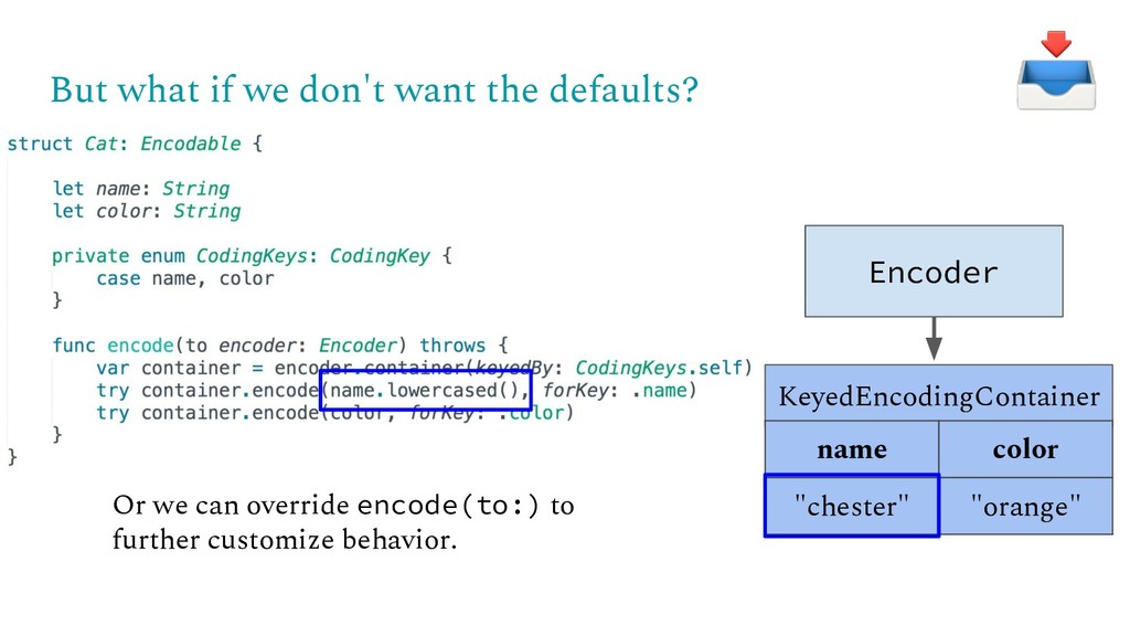 But what if we don't want the defaults? Encoder...