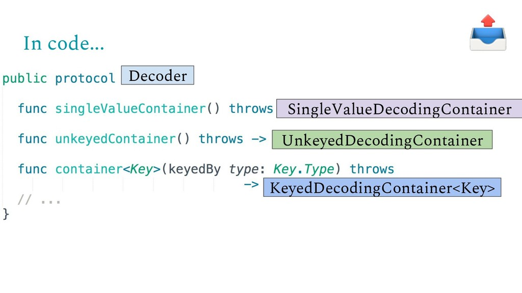 In code... Decoder SingleValueDecodingContainer...