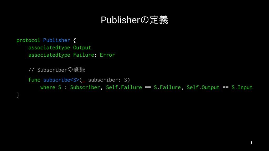 Publisherͷఆٛ protocol Publisher { associatedtyp...