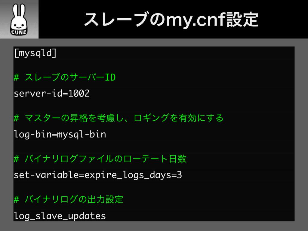 ɹɹεϨʔϒͷNZDOGઃఆ [mysqld] # εϨʔϒͷαʔόʔID server-...