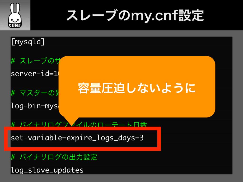 [mysqld] # εϨʔϒͷαʔόʔID server-id=1002 # Ϛελʔͷঢ֨...