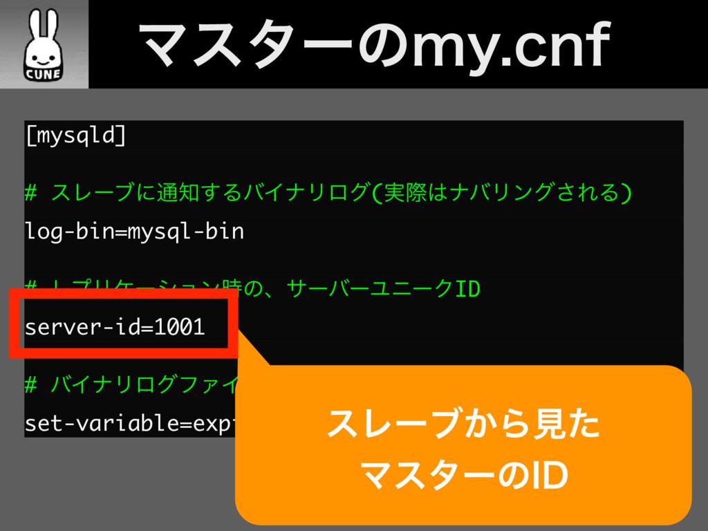 [mysqld] # εϨʔϒʹ௨͢ΔόΠφϦϩά(࣮ࡍφόϦϯά͞ΕΔ) log-bin...
