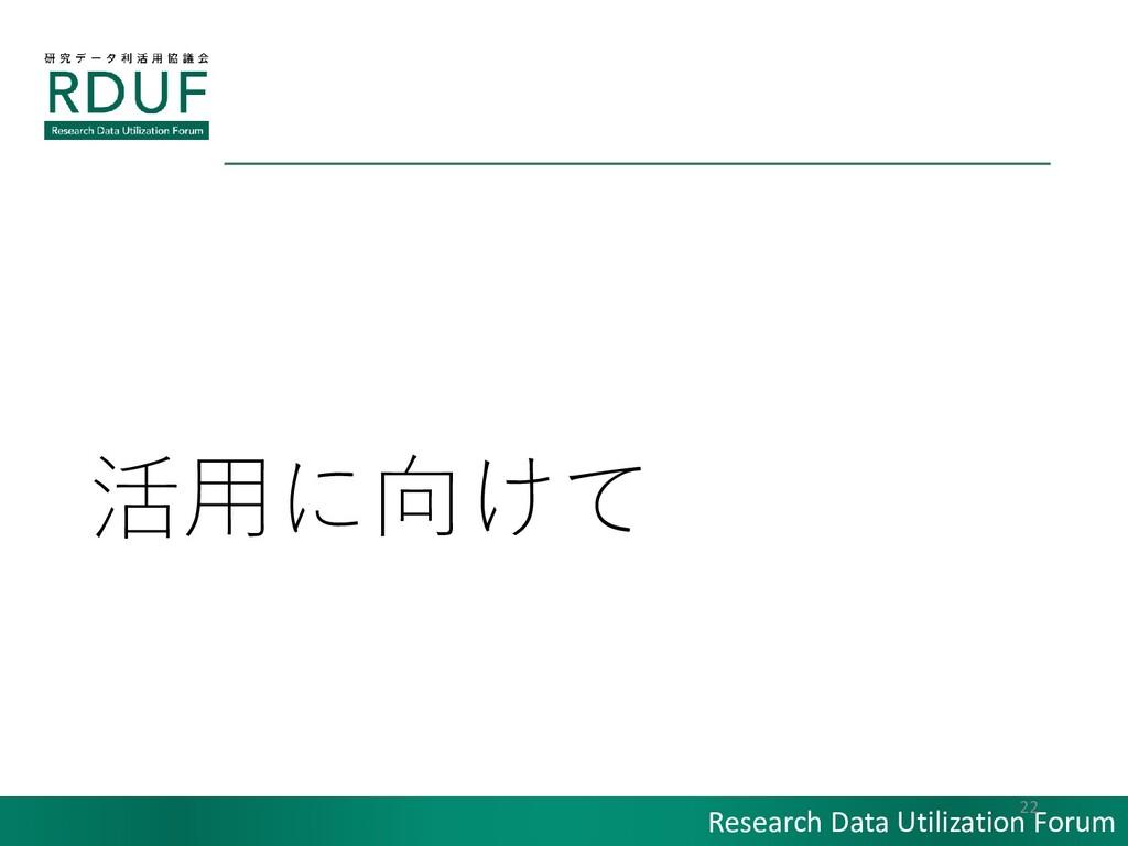 Research Data Utilization Forum 活用に向けて 22
