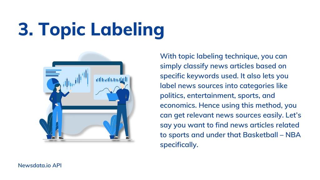 Newsdata.io API With topic labeling technique, ...