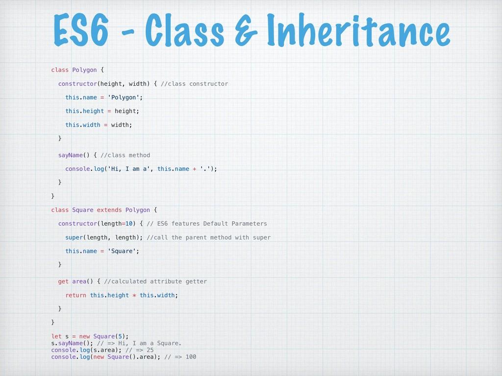 ES6 - Class & Inheritance class Polygon { const...