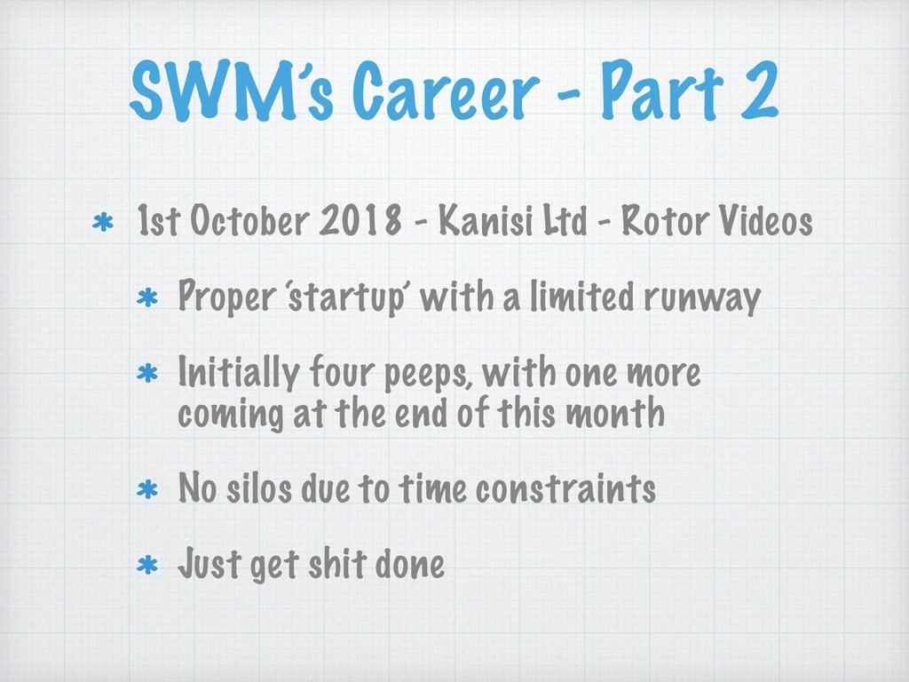 SWM's Career - Part 2 1st October 2018 - Kanisi...