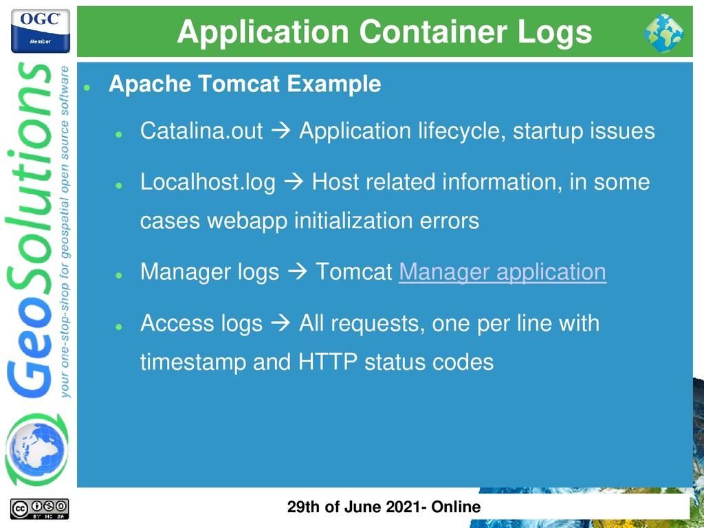 Application Container Logs ⚫ Apache Tomcat Exam...