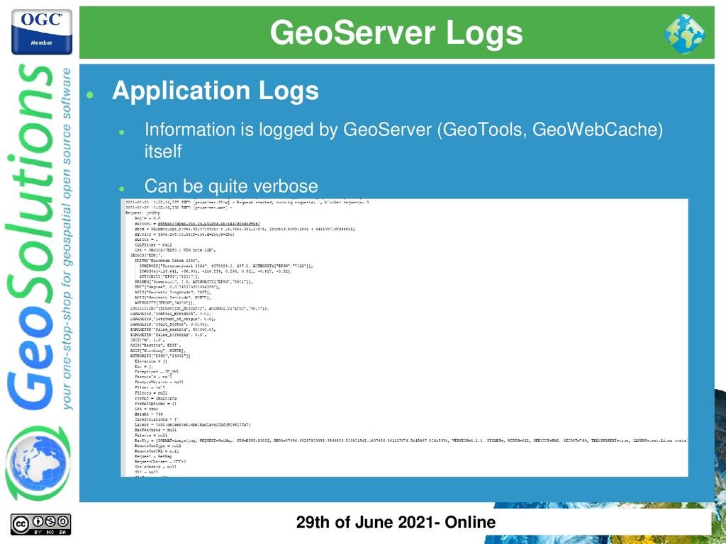 GeoServer Logs ⚫ Application Logs ⚫ Information...