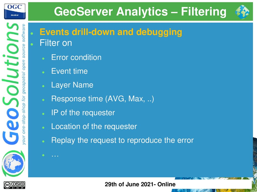 GeoServer Analytics – Filtering ⚫ Events drill-...