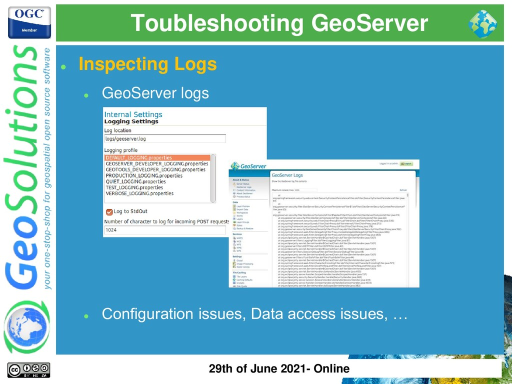 Toubleshooting GeoServer ⚫ Inspecting Logs ⚫ Ge...