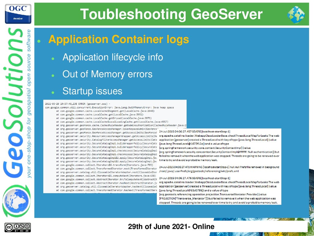 Toubleshooting GeoServer ⚫ Application Containe...