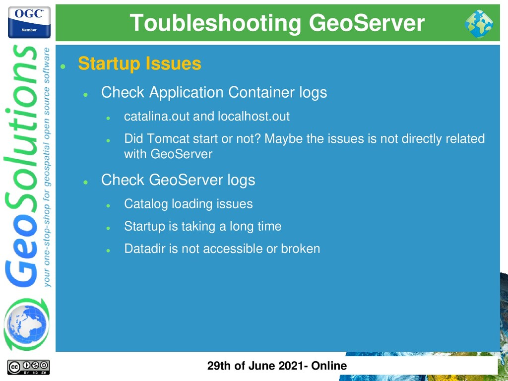Toubleshooting GeoServer ⚫ Startup Issues ⚫ Che...
