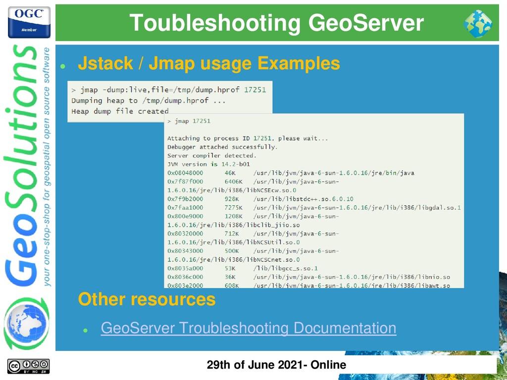 Toubleshooting GeoServer ⚫ Jstack / Jmap usage ...