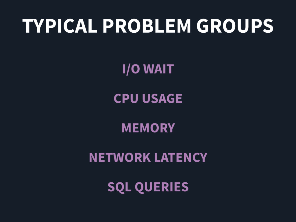TYPICAL PROBLEM GROUPS I/O WAIT CPU USAGE MEMOR...