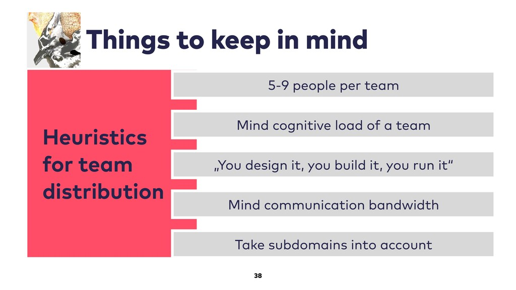Heuristics for team distribution 38 Things to k...