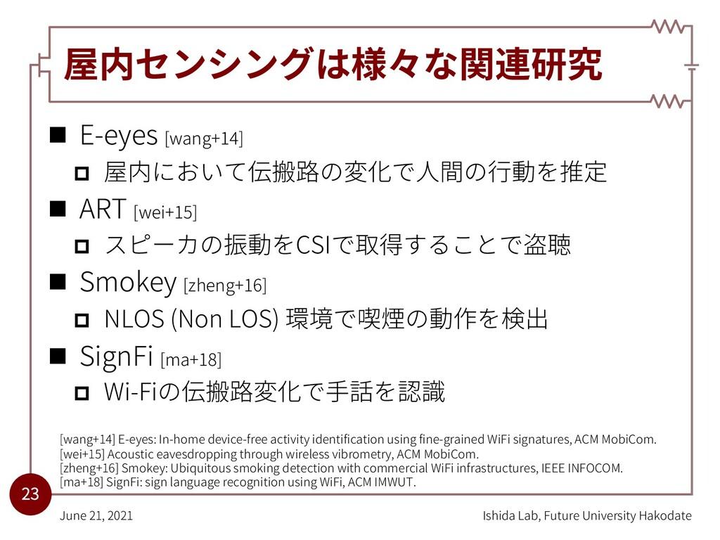 屋内センシングは様々な関連研究 n E-eyes [wang+14] p 屋内において伝搬路の...