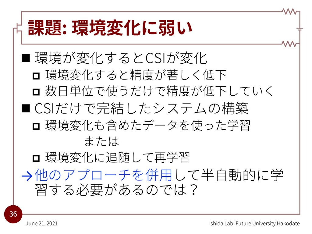 課題: 環境変化に弱い n 環境が変化するとCSIが変化 p 環境変化すると精度が著しく低下 ...