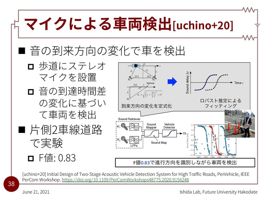 マイクによる⾞両検出[uchino+20] n ⾳の到来⽅向の変化で⾞を検出 p 歩道にステレ...