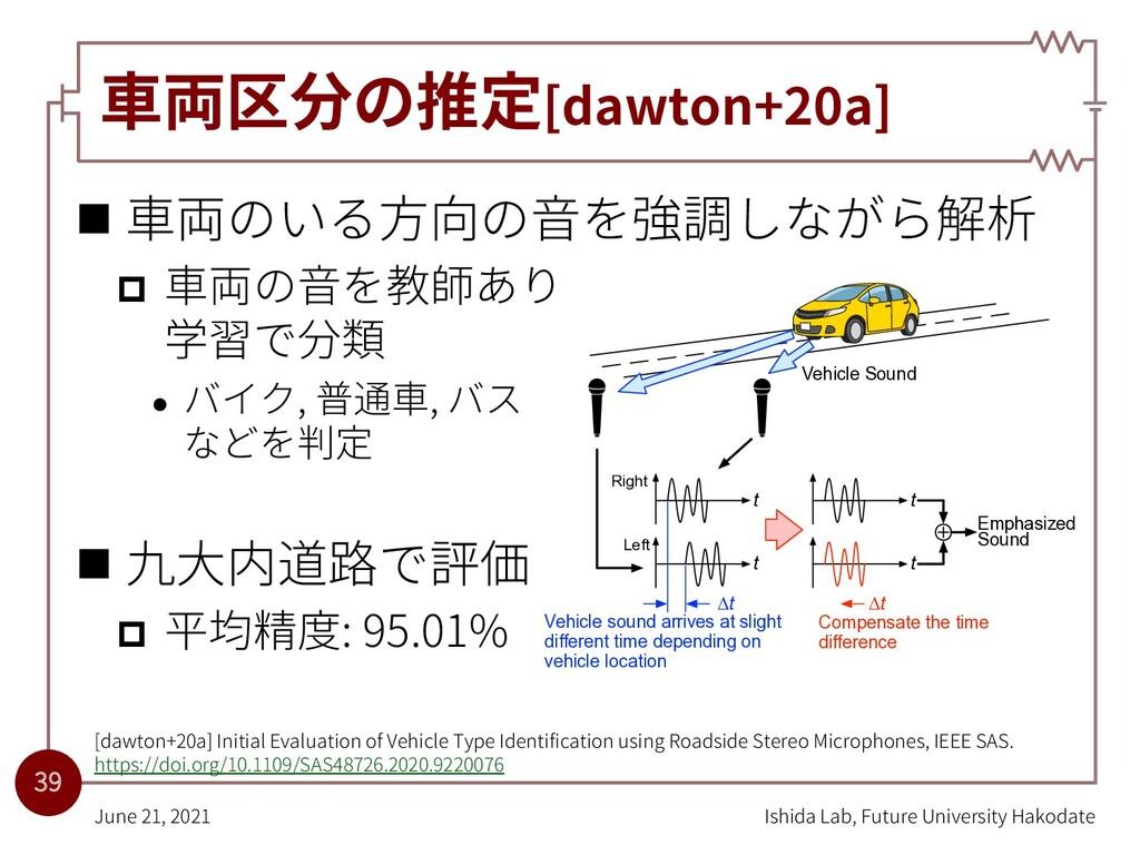 ⾞両区分の推定[dawton+20a] n ⾞両のいる⽅向の⾳を強調しながら解析 p ⾞両の⾳...