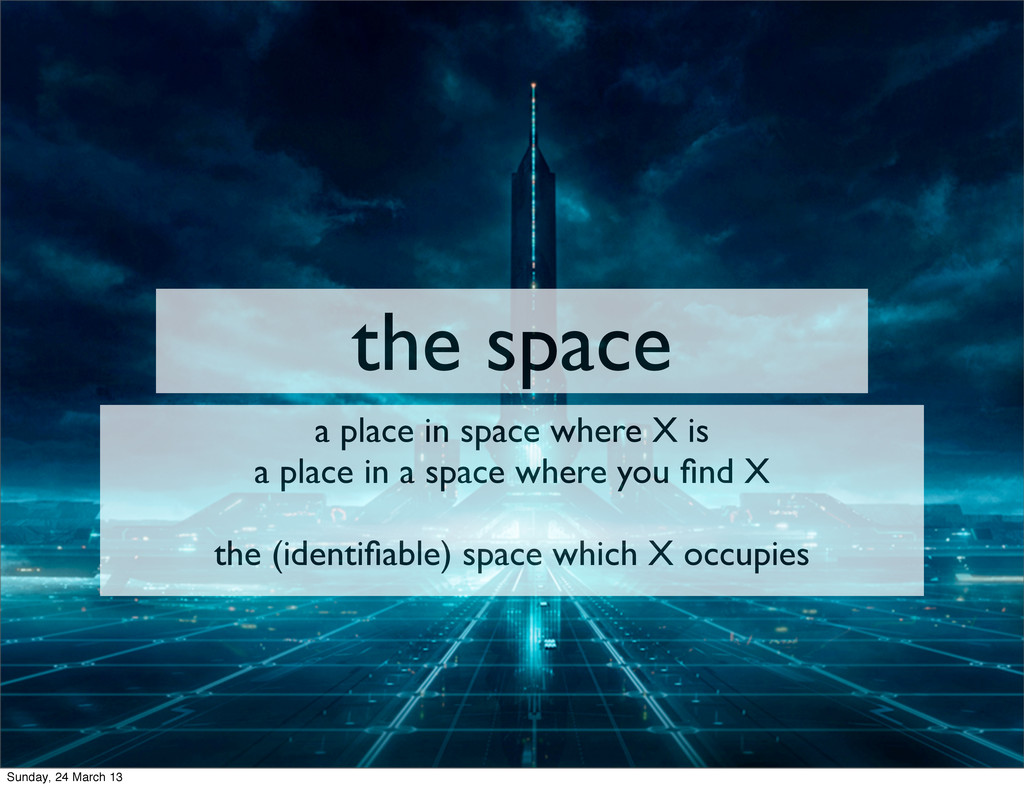 the space a place in space where X is a place i...