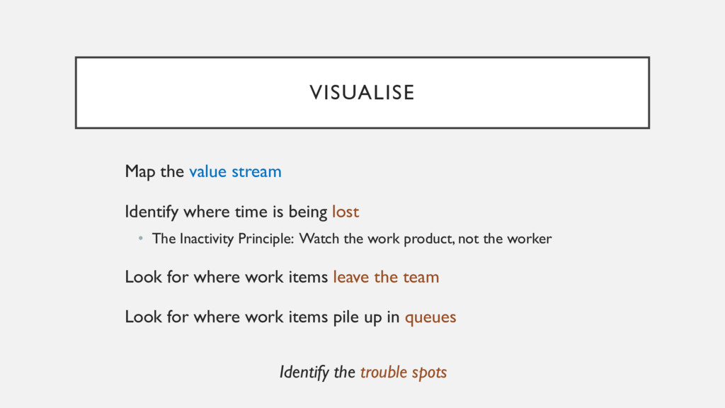 VISUALISE Map the value stream Identify where t...