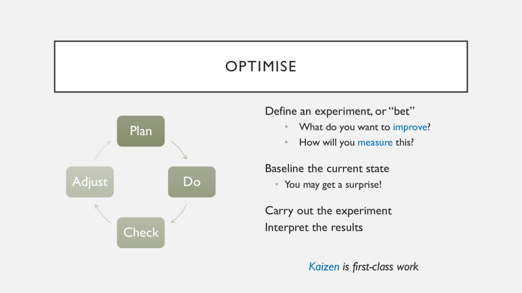 """OPTIMISE Define an experiment, or """"bet"""" • What ..."""