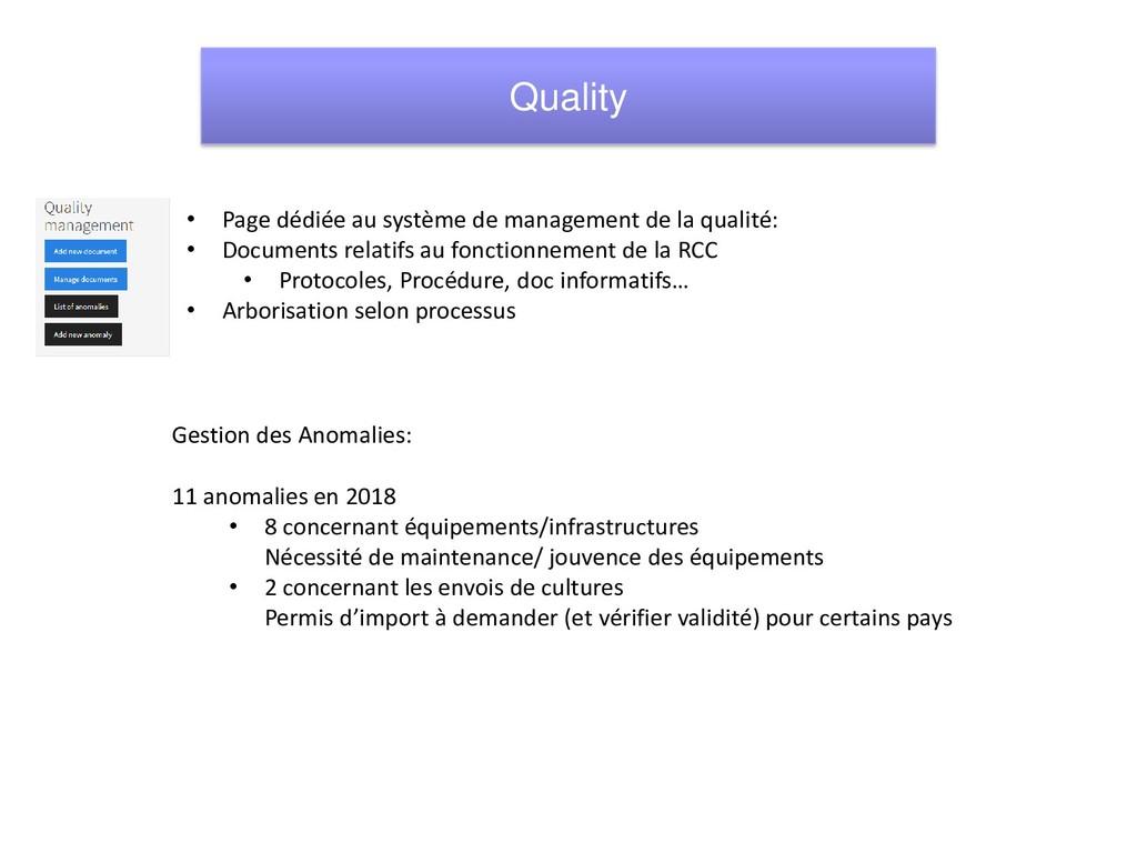 • Page dédiée au système de management de la qu...