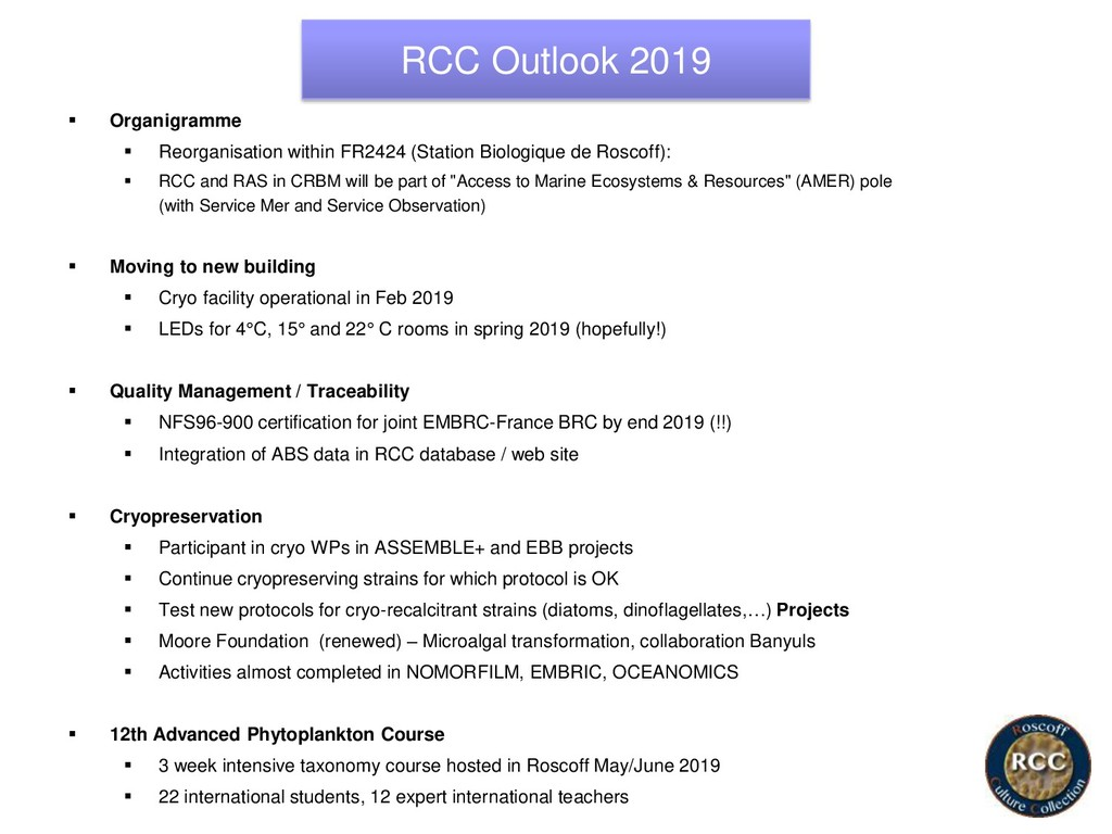 RCC Outlook 2019 ▪ Organigramme ▪ Reorganisatio...