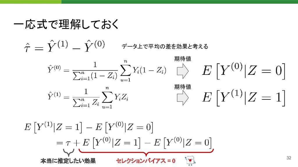 一応式で理解しておく 32 期待値 期待値 セレクションバイアス = 0  データ上で...