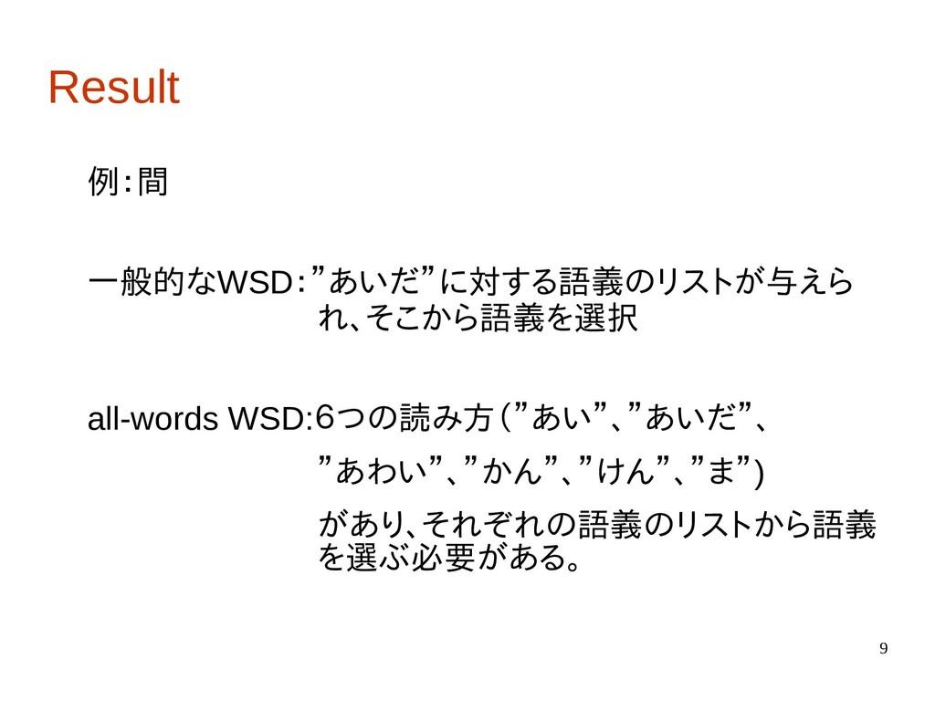 "9 Result 例:間 一般的なWSD:""あいだ""に対する語義のリストが与えら       ..."
