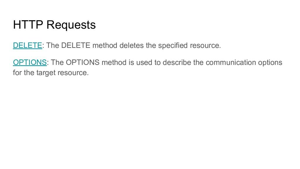 HTTP Requests DELETE: The DELETE method deletes...