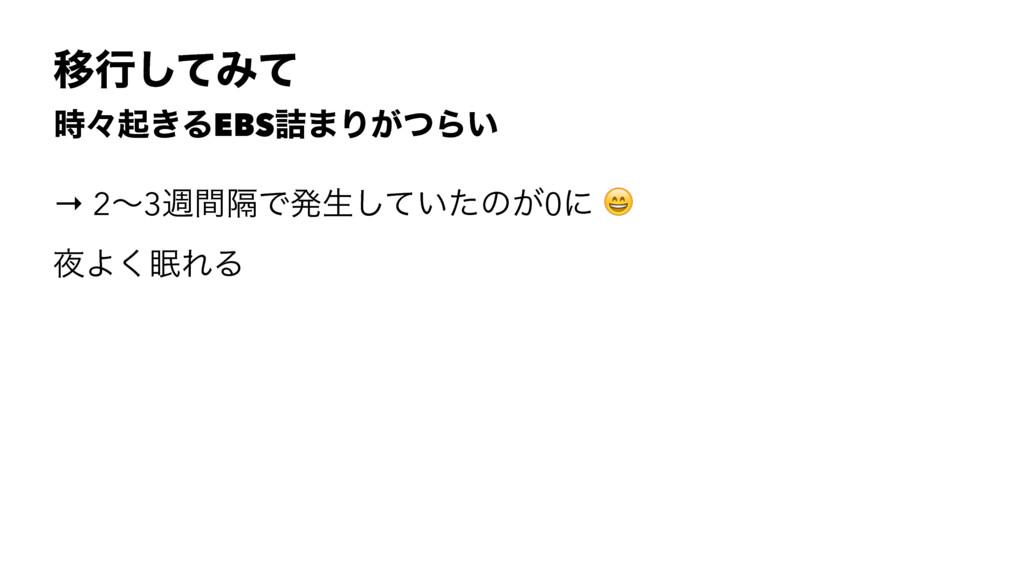 Ҡߦͯ͠Έͯ ʑى͖ΔEBS٧·Γ͕ͭΒ͍ → 2ʙ3िִؒͰൃੜ͍ͯͨ͠ͷ͕0ʹ ! Α...