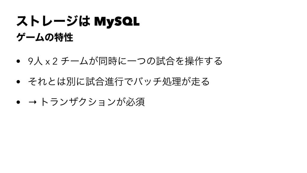 ετϨʔδ MySQL ήʔϜͷಛੑ • 9ਓ x 2 νʔϜ͕ಉʹҰͭͷࢼ߹Λૢ࡞͢Δ ...