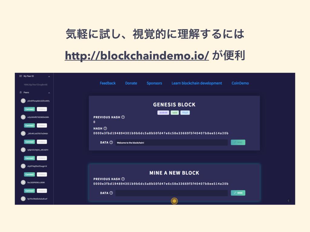 ؾܰʹࢼ͠ɺࢹ֮తʹཧղ͢Δʹ http://blockchaindemo.io/ ͕ศར