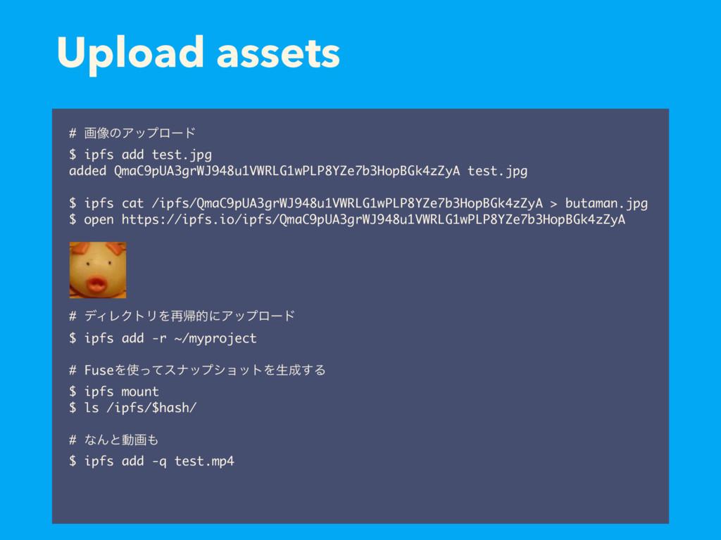 Upload assets # ը૾ͷΞοϓϩʔυ $ ipfs add test.jpg a...