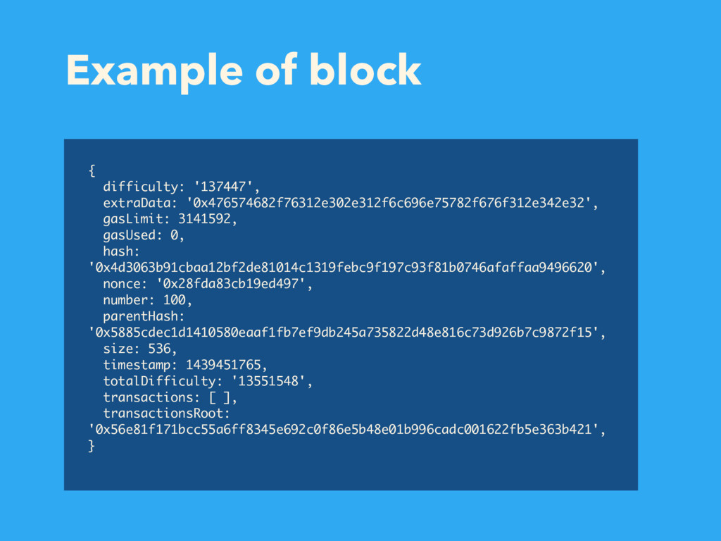 Example of block { difficulty: '137447', extraD...